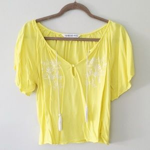Tops - yellow embroidered top